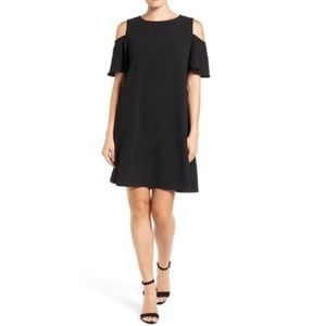 Bobeau Black Cold Shoulder Short Sleeve Dress